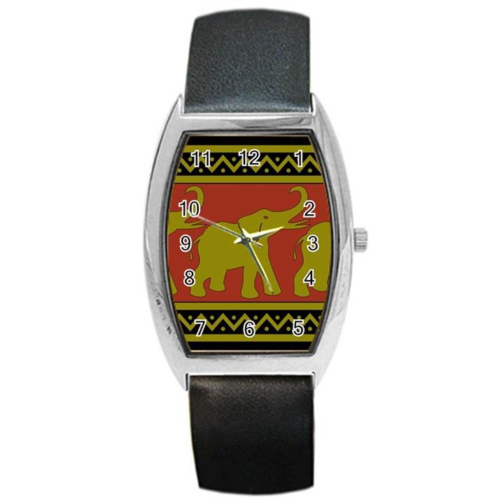 Elephant Pattern Barrel Style Metal Watch