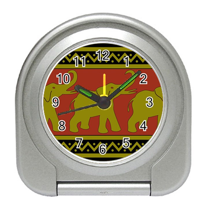 Elephant Pattern Travel Alarm Clocks
