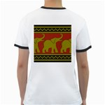 Elephant Pattern Ringer T-Shirts Back