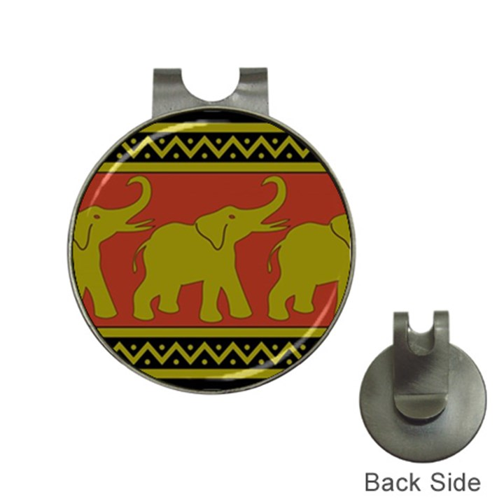 Elephant Pattern Hat Clips with Golf Markers