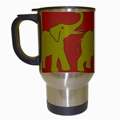 Elephant Pattern Travel Mugs (White)