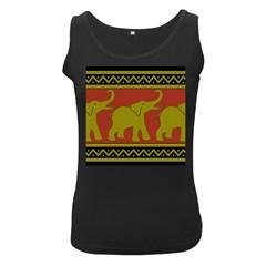 Elephant Pattern Women s Black Tank Top