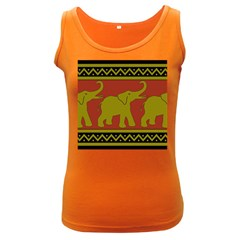 Elephant Pattern Women s Dark Tank Top