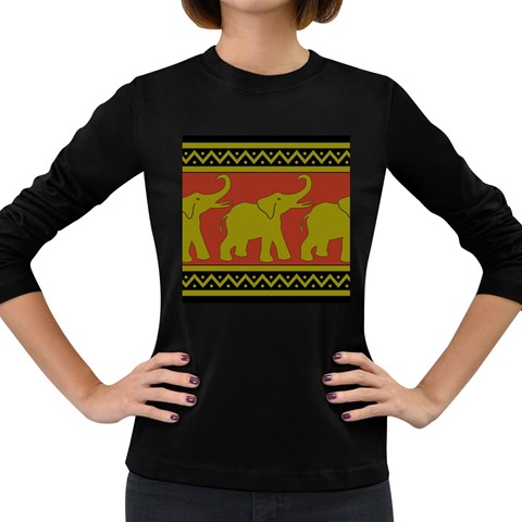 Elephant Pattern Women s Long Sleeve Dark T-Shirts