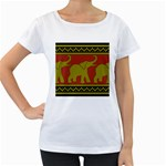 Elephant Pattern Women s Loose-Fit T-Shirt (White) Front