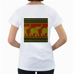 Elephant Pattern Women s Loose-Fit T-Shirt (White) Back