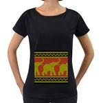 Elephant Pattern Women s Loose-Fit T-Shirt (Black) Front