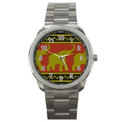 Elephant Pattern Sport Metal Watch