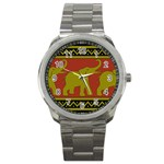 Elephant Pattern Sport Metal Watch Front