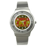 Elephant Pattern Stainless Steel Watch Front