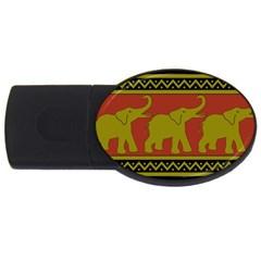 Elephant Pattern USB Flash Drive Oval (4 GB)