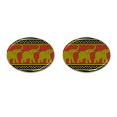 Elephant Pattern Cufflinks (Oval)