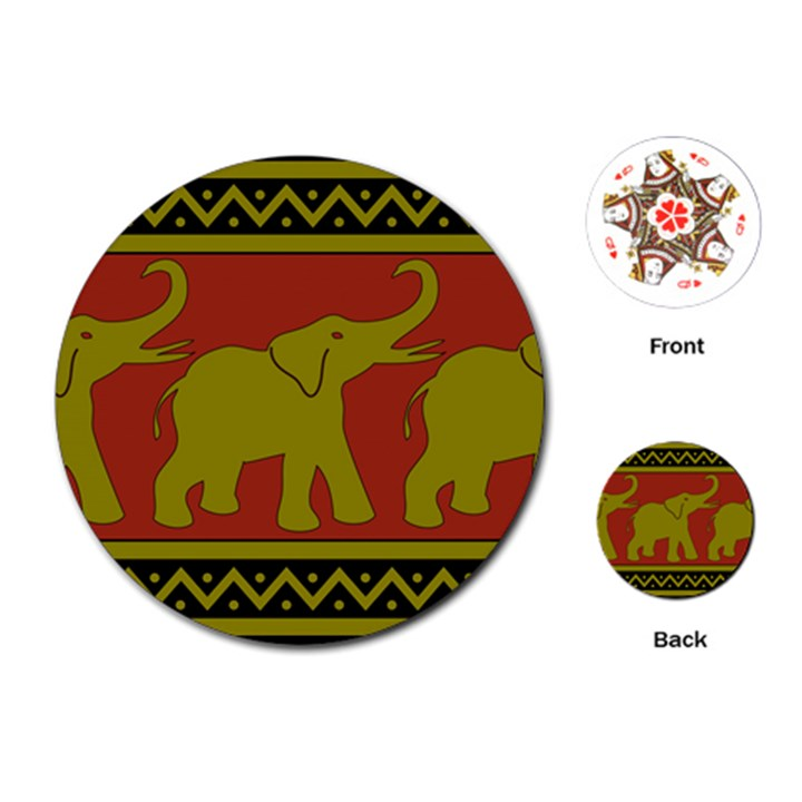 Elephant Pattern Playing Cards (Round)