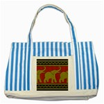 Elephant Pattern Striped Blue Tote Bag Front