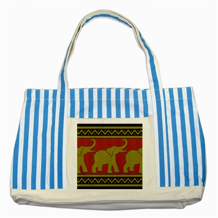 Elephant Pattern Striped Blue Tote Bag