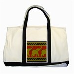 Elephant Pattern Two Tone Tote Bag Front