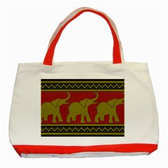 Elephant Pattern Classic Tote Bag (Red)