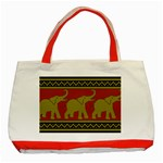 Elephant Pattern Classic Tote Bag (Red) Front
