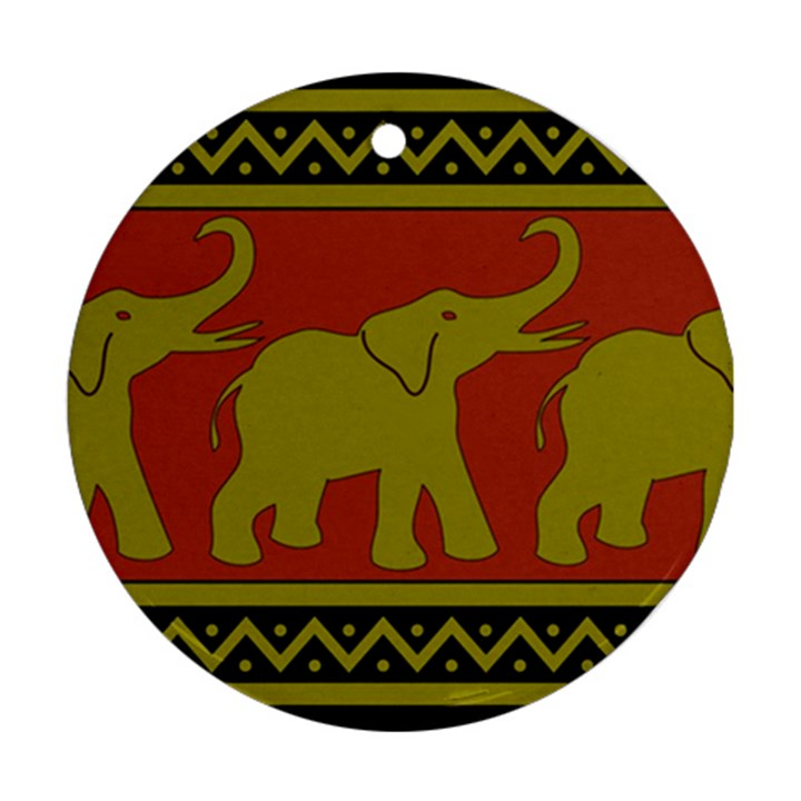 Elephant Pattern Round Ornament (Two Sides)