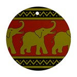 Elephant Pattern Round Ornament (Two Sides)  Back