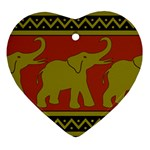 Elephant Pattern Heart Ornament (2 Sides) Front