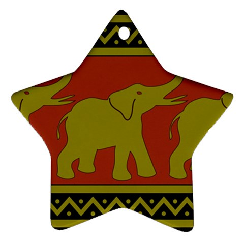 Elephant Pattern Star Ornament (Two Sides)