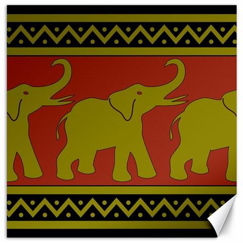 Elephant Pattern Canvas 12  x 12