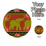 Elephant Pattern Playing Cards 54 (Round)  Front - Heart6