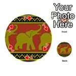 Elephant Pattern Playing Cards 54 (Round)  Front - Heart7