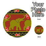 Elephant Pattern Playing Cards 54 (Round)  Front - HeartK