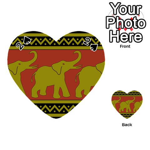 Elephant Pattern Playing Cards 54 (Heart)
