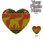 Elephant Pattern Playing Cards 54 (Heart)  Front - Heart6