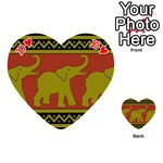 Elephant Pattern Playing Cards 54 (Heart)  Front - Heart10