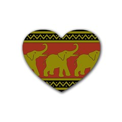 Elephant Pattern Rubber Coaster (Heart)