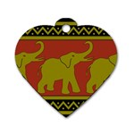 Elephant Pattern Dog Tag Heart (One Side) Front