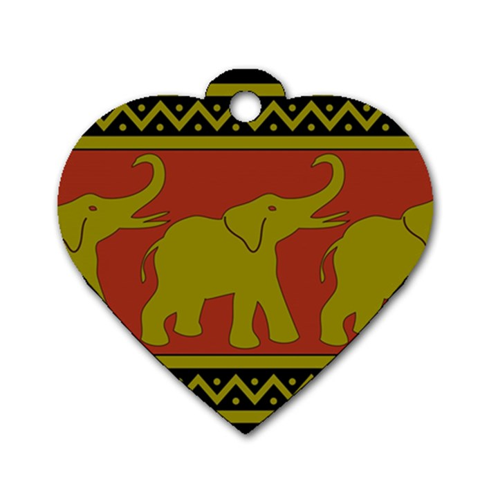 Elephant Pattern Dog Tag Heart (One Side)