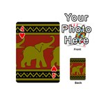 Elephant Pattern Playing Cards 54 (Mini)  Front - Heart4