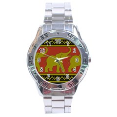 Elephant Pattern Stainless Steel Analogue Watch