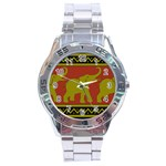 Elephant Pattern Stainless Steel Analogue Watch Front