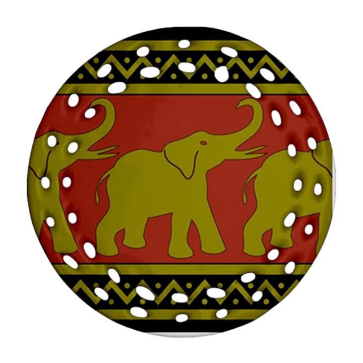 Elephant Pattern Ornament (Round Filigree)