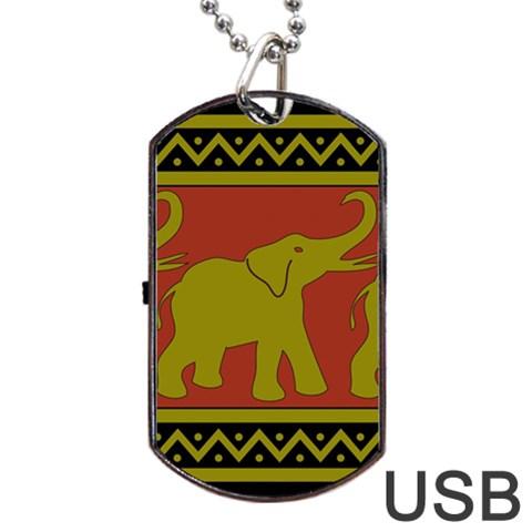 Elephant Pattern Dog Tag USB Flash (One Side)