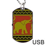 Elephant Pattern Dog Tag USB Flash (Two Sides)  Front