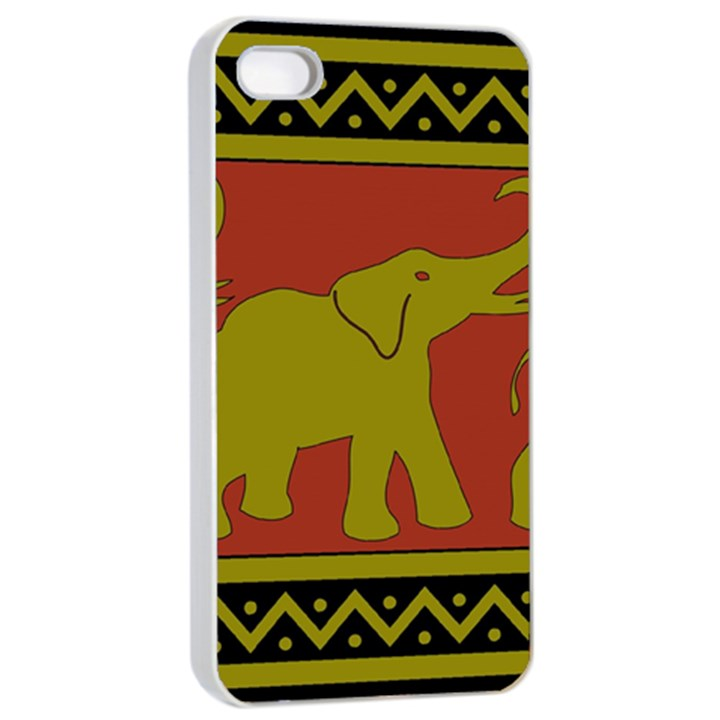 Elephant Pattern Apple iPhone 4/4s Seamless Case (White)