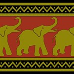 Elephant Pattern ENGAGED 3D Greeting Card (8x4) Inside