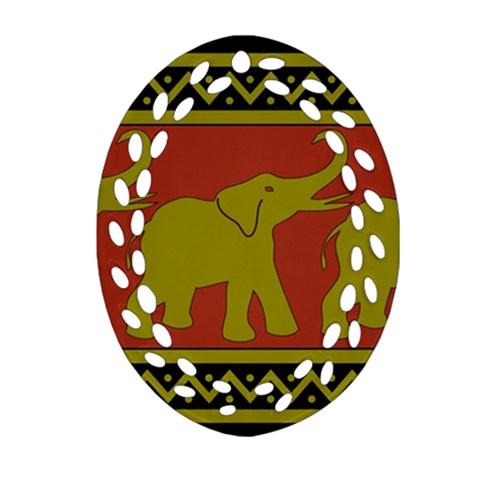 Elephant Pattern Ornament (Oval Filigree)