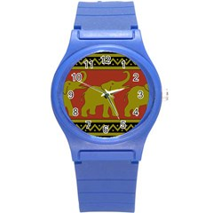 Elephant Pattern Round Plastic Sport Watch (S)