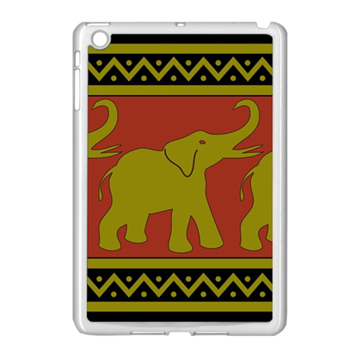 Elephant Pattern Apple iPad Mini Case (White)