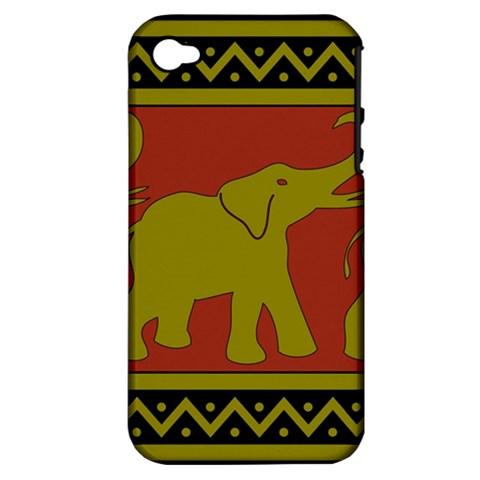 Elephant Pattern Apple iPhone 4/4S Hardshell Case (PC+Silicone)
