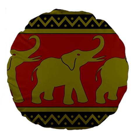 Elephant Pattern Large 18  Premium Round Cushions