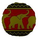 Elephant Pattern Large 18  Premium Round Cushions Back